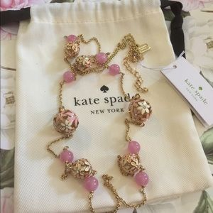 Kate Spade 'At First Blush' necklace pink gold